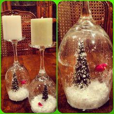 DIY Wine Glass Snowglobes