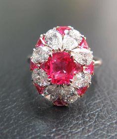 Vibrant Red Spinel from Mansin mine, Mogok, Burma and Diamond IVY ring. #red #spinel #diamonds #ivy #handcrafted #ivynewyork www.ivynewyork.com