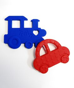 Love this Navy & Red Chew Chew & Zoom Organic Teething Toy Set on #zulily! #zulilyfinds