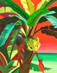 Caribbean Art + lots of tropical, foliage, island life paintings to choose from for the beach cottage + coastal decor home + colorful and bright!