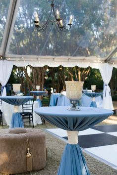 Blue and White #Wedding #cocktail #tableDecor