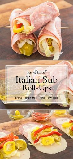 Low Carb Meals Bread is the least important ingredient of a really delicious Italian sub, so skip it altogether. Get all the flavor of the classic sandwich in these low-carb rolls. With of fat and 1 carb, they are the perfect keto lunch. Low Carb Paleo, Low Carb High Fat, Low Carb Recipes, Cooking Recipes, Healthy Recipes, Low Gi, Primal Recipes, Low Carb Wraps, 7 Keto