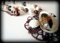 Real Honey Bee Pearl Necklace  by KillJarJewelry, $29.00