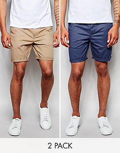 ASOS 2 Pack Slim Chino Shorts In Mid Length SAVE 17%