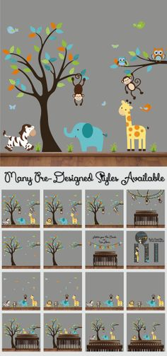 Nursery Tree Decal  Animal Wall Decal  Tree Wall by HWDecals, $90.00