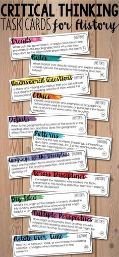Add depth and complexity to your instruction with these Critical Thinking History/Social Studies Task Cards! 88 task cards that can be used with any textbook and with any topic of history. You will be blown away by the discussions your students will have! $