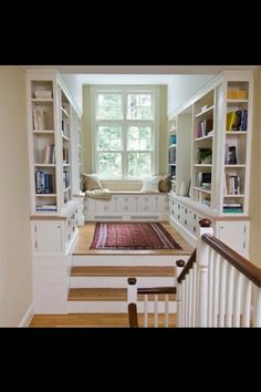 home library with window seat - this is our landing with double doors instead of windows. Love this cozy nook Sweet Home, Cozy Nook, Cozy Corner, Home Libraries, Style At Home, Home Fashion, Old Houses, My Dream Home, Dream Homes