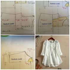 Fabric n lace blouse Pattern Drafting Tutorials, Sewing Patterns Free, Sewing Tutorials, Clothing Patterns, Dress Patterns, Sewing Blouses, Sewing Shirts, Make Your Own Clothes, Diy Clothes