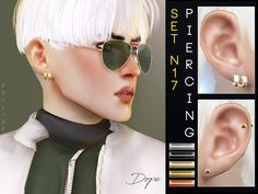 Piercings, inspired by BTS' Jimin while the DOPE era. 5 colors, all genders. Found in TSR Category 'Sims 4 Female Earrings' Source: Pralinesims' Piercing Set Sims 4 Hair Male, Sims 4 Male Clothes, Sims 4 Clothing, The Sims 4 Pc, Sims Cc, Sims 4 Mods, Maxis, Sims 4 Piercings, Sims Packs