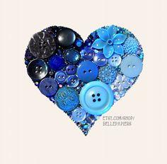 button Art Ombré Sparkly Heart Art Button & Swarovski Rhinestones Button Heart Button Art on Etsy, $94.00 valentines day