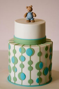 Polka Dots and Bear | Double stacked 6 inch cakes with 4 inc… | Flickr - Photo Sharing!