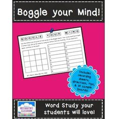(Free) Boggle kit for your classroom!