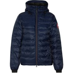 Canada Goose Camp hooded quilted shell down jacket ($550) ❤ liked on Polyvore featuring outerwear, jackets, navy, fleece-lined jackets, travel jacket, canada goose jacket, blue quilted jacket and down insulated jacket