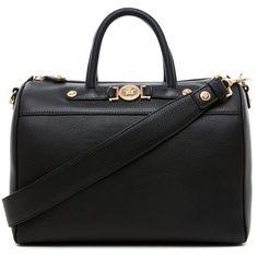 VERSACE Calf Leather Handbag in Black (4.765 BRL) ❤ liked on Polyvore featuring bags, handbags, shoulder bags, purses, bolsas, accessories, black, calfskin purse, handbag purse and versace purses