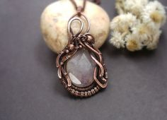 Amethyst necklace  copper amethyst by ChervoniKoraliArt on Etsy
