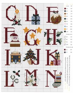 Xmas Pudding Alphabet ABC Place Cards Christmas Cross Stitch Chart X