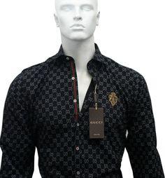 080ca0fc260 Black Color New GUCCI Long Sleeve Cotton Dress Shirt For Men's Size M.L.XL