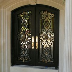 Door Gate Design, Main Door Design, Front Door Design, Iron Front Door, Double Front Doors, Front Entry, House Entrance, Entrance Doors, Double Doors Exterior