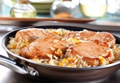 This speedy skillet dish features browned boneless pork chops and rice simmered in an easy-to-make sweet and sour sauce.
