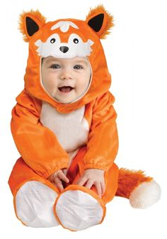 Baby Fox Infant Toddler Costume  This charming Baby Fox Costume for Infants is perfect for little ones who love to embrace their inner animal  Featuring a fuzzy tail and ears, this baby fox costume will transform your little one into a furry delight.  Included: Footed jumpsuit with attached tail with inseam snaps, hood with fox face