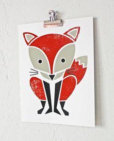 Items similar to Fox Print, Screenprint, Red, Nursery Art, Woodland Art on Etsy Woodland Art, Woodland Nursery, Animal Art Prints, Fox Decor, Fox Print, Red Fox, Nursery Wall Art, Letterpress, Screen Printing