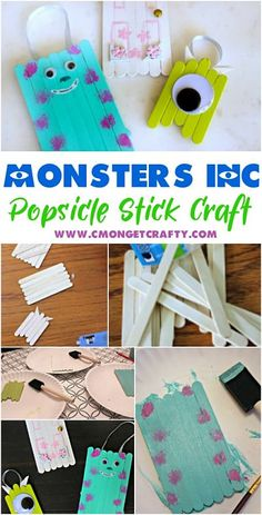 You Need to Make These Fun Monster's Inc Popsicle Stick Ornaments Any Disney fan would be fond of these adorable Monster's Inc popsicle stick craft ornaments! Make Christmas ornaments, magnets, whatever! Super easy and fun craft for kids! Disney Diy, Disney Crafts For Kids, Crafts For Teens To Make, Toddler Crafts, Disney Pixar, Kids Crafts, Popsicle Stick Crafts, Craft Stick Crafts, Easy Crafts