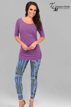 Charming Navy Blue Lycra Printed Leggings