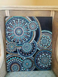 Ripple hand painted dot mandala painting on boxed canvas