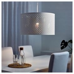 IKEA - NYMÖ, Lamp shade, 59 cm, , Create your own personalized pendant or floor lamp by combining the shade with your choice of cord set or lamp base.Creates a decorative light pattern in the room when the light shines through the perforated shade. Sala Ikea, Modern Lamp Shades, Clear Light Bulbs, Ceiling Lamp Shades, Unique Lamps, Bedroom Lamps, Brass Color, Lampshades, Light Decorations