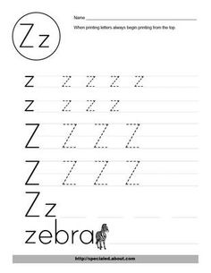 Letter Z Worksheets for preschoolers and kindergarten kids. Trace and learn this last alphabet letter with fun. Learn to recognize, read, and write letters of the alphabet. Dozens of free worksheets for learning the ABCs especially Z letter. Free Kindergarten Worksheets, 1st Grade Worksheets, Tracing Worksheets, Free Preschool, Worksheets For Kids, Alphabet Worksheets, Preschool Ideas, Handwriting Worksheets, Handwriting Practice