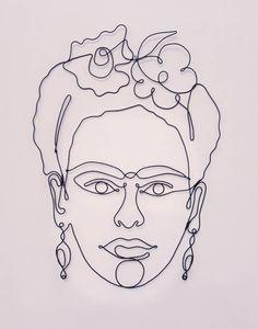 Frida Kahlo Sculpture, One line Frida Kahlo, Steel Wire Friducha Line Sculpture, Frida Kahlo Portraits, Art Fil, Kahlo Paintings, Frida And Diego, Frida Art, Muster Tattoos, Ink Illustrations, Wire Art