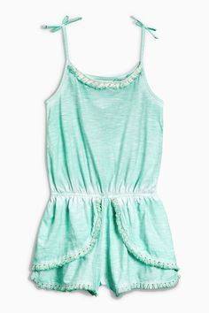 Buy Mint Fringe Playsuit from the Next UK online shop Jumpsuits For Girls, Girls Rompers, Summer Outfits, Summer Dresses, Summer Clothes, Playsuit Romper, Next Uk, Playsuits, Latest Fashion For Women