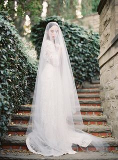 old world wedding inspiration - neutral details - lace gown - romantic cathedral veil - Kurt Boomer Photgraphy
