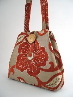 fall  tote or hobo bag burnt orange floral handbag by daphnenen
