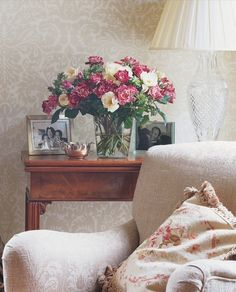 Country Sitting Room with Farrow & Ball 803 wallpaper on the walls
