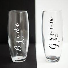 adorable #marthastewartcrafts #12monthsofmartha wedding champagne toasting glasses! cuteness.