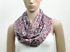 Lilac Scarf Infinity Scarf Pastel Scarf Floral Satin Scarf Summer Scarfby FashionPopups