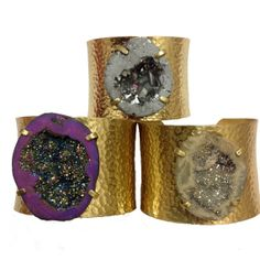 Brass Druzy Cuff Natural Druzy Bracelet by StellaSparkleJewelry, $60.00