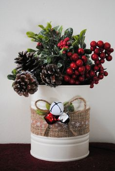 Christmas Cans Tin Cans Christmas Decor by ALittleDabWillDoYou