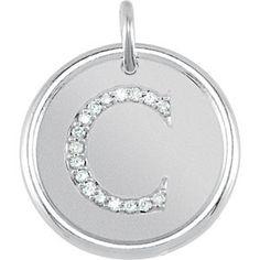 "Initial ""C"" Diamond Posh Mommy® Roxy Pendant"
