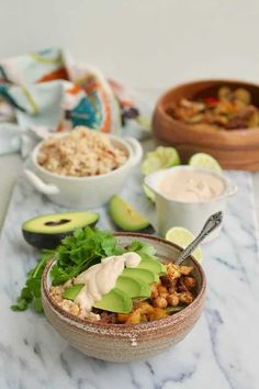 These easy Vegan Sheet-pan Fajita Bowls are sure to be a crowd pleaser! With zucchini, peppers, cauliflower, spicy chickpeas roasted on a sheet pan, and served with a zippy chipotle-lime cashew cream and quick fajita rice, these vegan fajita bowls are a healthy, satisfying, and delicious meal. #vegan #glutenfree #fajita #fajitabowl #heynutritionlady Vegetarian Mexican Recipes, Vegetarian Cooking, Vegan Recipes Easy, Vegetarian Dinners, Chipotle, Plant Based Snacks, Fajita Bowls, Sheet Pan Suppers, Zucchini