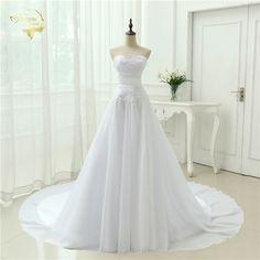 A-Line Sweetheart Applique Belt Wedding Dress - Uniqistic.com
