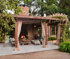 Irresistible outdoor fireplace ideas that will leave you awe-struck - - Dress up your backyard patio with some gorgeous outdoor fireplace ideas that can be enjoyed for relaxing and entertaining throughout most of the season. Outdoor Fireplace Ideas Backyards, Backyard Design, Outdoor Decor, Modern Pergola, Patio Design, Fireplace Design, Beautiful Outdoor Living Spaces, Pergola Designs, Patio Style