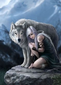 Protector - Greetings card by Anne Stokes