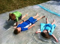Make a giant outdoor water bed for the kids. | 32 Cheap And Easy Backyard Ideas That Are Borderline Genius