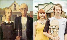 American Gothic por Jesse John Hunniford  Hermosas Recreaciones de Obras de Arte Famosas