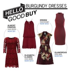 """Hello Good Buy: Burgundy Dresses"" by polyvore-editorial ❤ liked on Polyvore featuring Almost Famous, Erdem, Elizabeth and James, Glamorous and HelloGoodBuy"