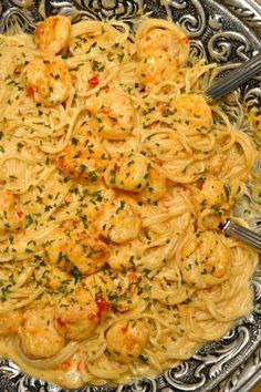 This Bang Bang Shrimp and Pasta has the most scrumptious, creamy sauce. Plus it's ready in about 20 minutes!  Both the recipe and photo were done by a blogger named Sherri on luvabargain.com.