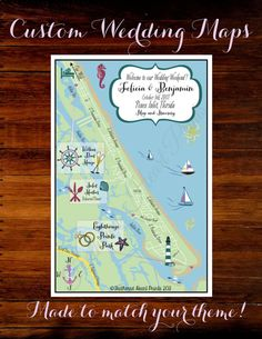 Custom Wedding MAP Any Location Available- Ponce Inlet, FL Wedding Map pictured by FeatheredHeartPrints