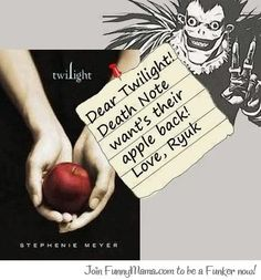 """Now could you just sign this paper saying you returned the apple? Thanks!"" <-- lol. I see what you did there. #deathnote"
